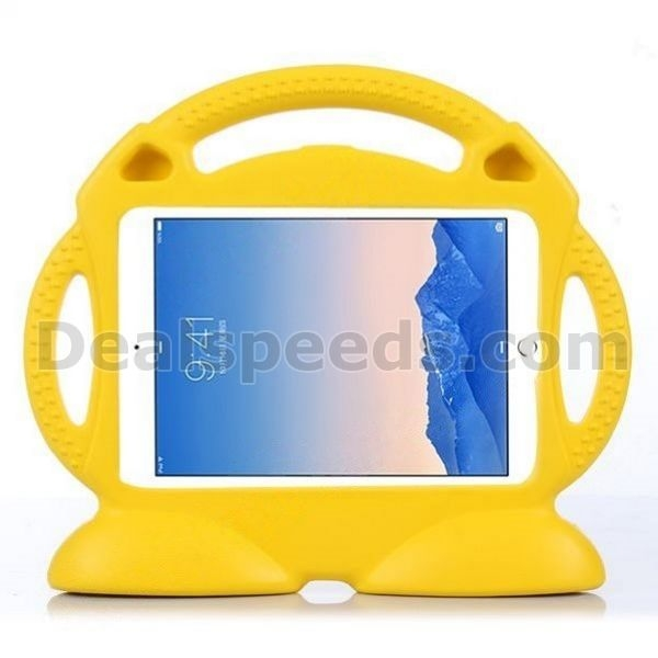 Cute Smiling Face Shockproof Stand Foam EVA Case for iPad Air 2 for Children with Handle (Yellow)