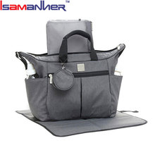 Isamanner baby changing bag grey tote outdoor organizer dipers baby bag