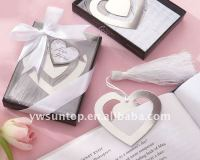 Wedding supplies wholesale newest elegant double heart shaped metal bookmark