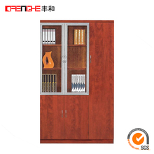 Office equipments Glass door 2 drawer office wooden file cabinet design