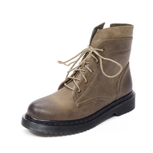 lace up durable wading boots TPR bottom ladies footwear genuine leather military boots women
