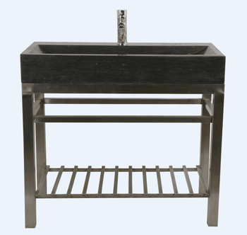 Wrought iron console limestone natural bathroom stone sinks