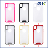 [GK] Crystal Transparent Anti-slip Edge TPU+Acrylic Hybrid Cover For iPhone X Phone Case