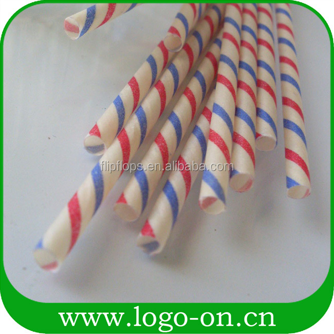 Pink and White Striped Paper Drinking Straw