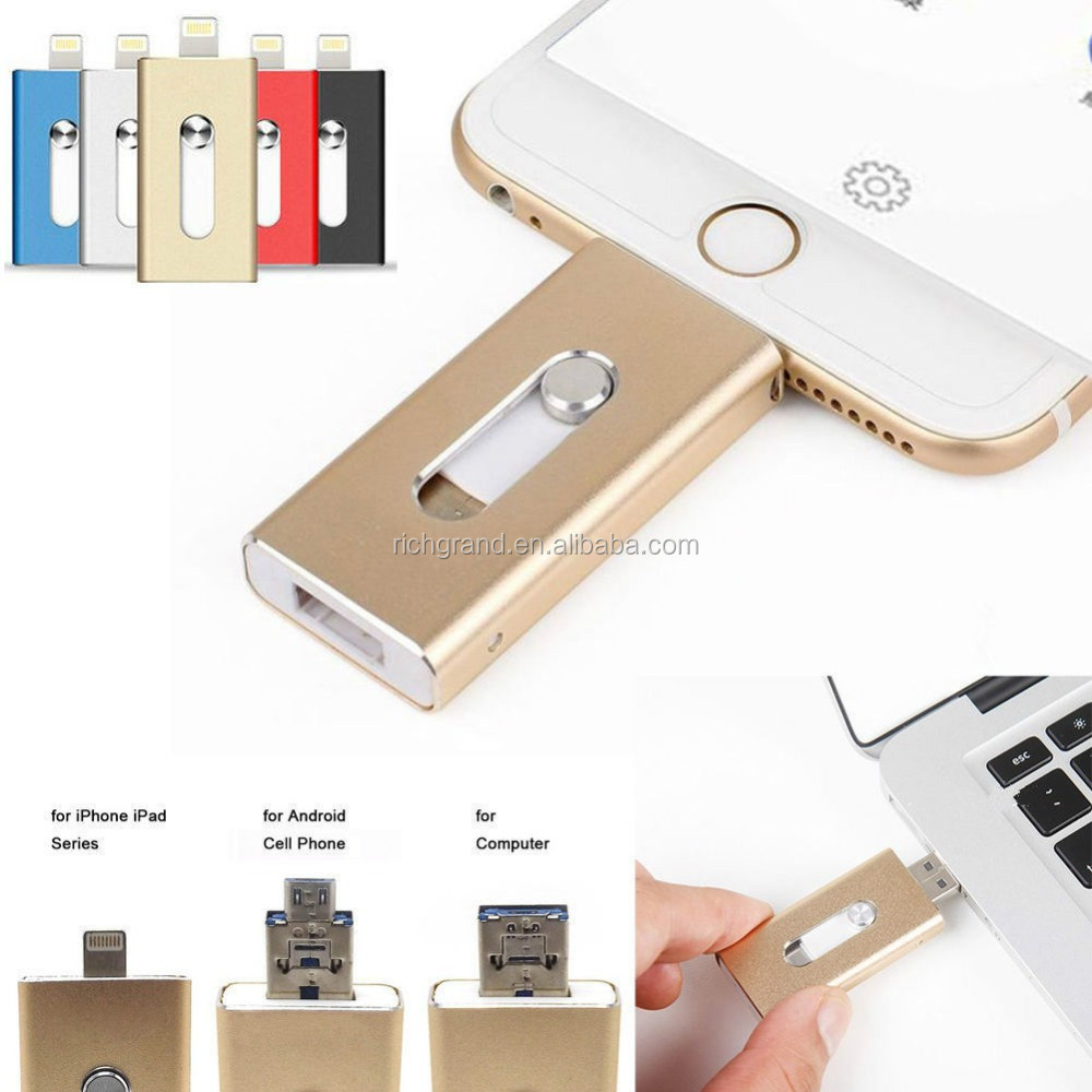 64GB 128GB New Fashion OTG Dual USB Memory Flash Disk For IOS iPhone iPad/PC