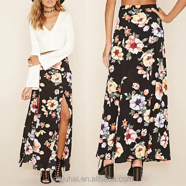 Hot Selling Floral Print M-Slit Hem Long Skirts For Women