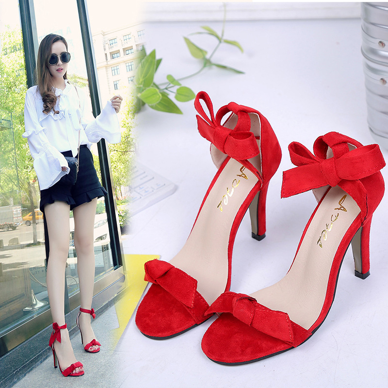 HFCS033 Superior quality bow tie strappy party wear high heel bridal wedding fancy sandals