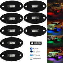 RGB LED Rock Lights with 8 pods Multicolor Neon Accent Lighting Kit Controlled by Mobile Phone APP for Car Jeep Off Road Trucks