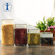 Wholesale New Design Different Shapes Clear Food Cans Glass Storage Jars With Lid