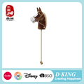 Hot wholesale 38 inches length ASTM kid wooden plush stick horse toys