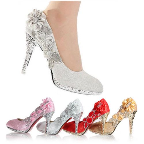 Wedding Stiletto Bridal Glitter Crystal Rose Evening Party High Heel Court Shoes