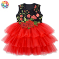Newest Rose Flower Embroidery Girl Tutu Dress 3 Layers Red Tutu Dresses Girls Latest Kids Girls' Dress Designs For Night Party