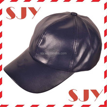 Blank adjustable sports mens 6 panel leather baseball cap