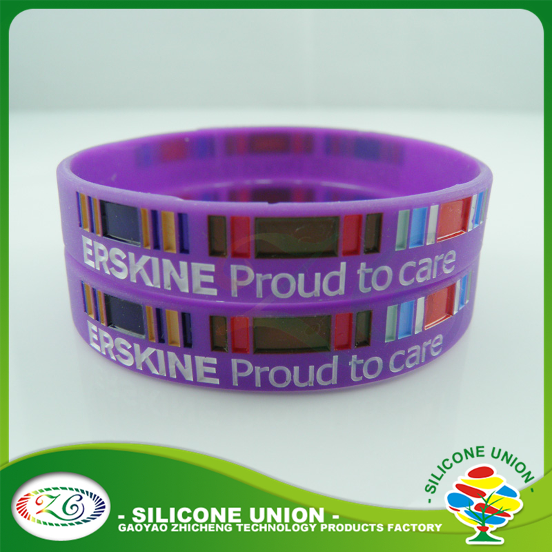 Style cheap purple colour wristbands silicone wristband OEM debossed silicone bracelet
