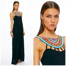 2015 Ladies Sexy summer Beaded Neck Maxi Dress