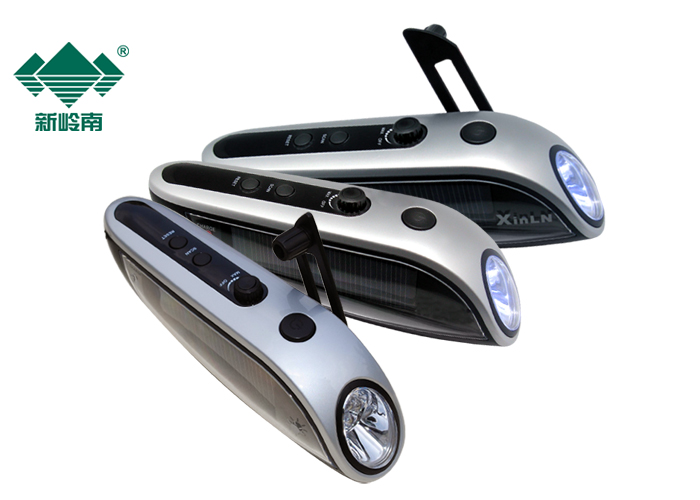 promotional solar and cranking powered flashlight radio power bank 3 in 1