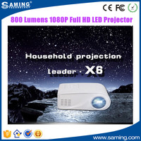 X6 Projector 800 Lumens 1080P Full HD LED Projector Contrast Ratio 500:1 Projection with HDMI VGA AV Port Remote Control EU US