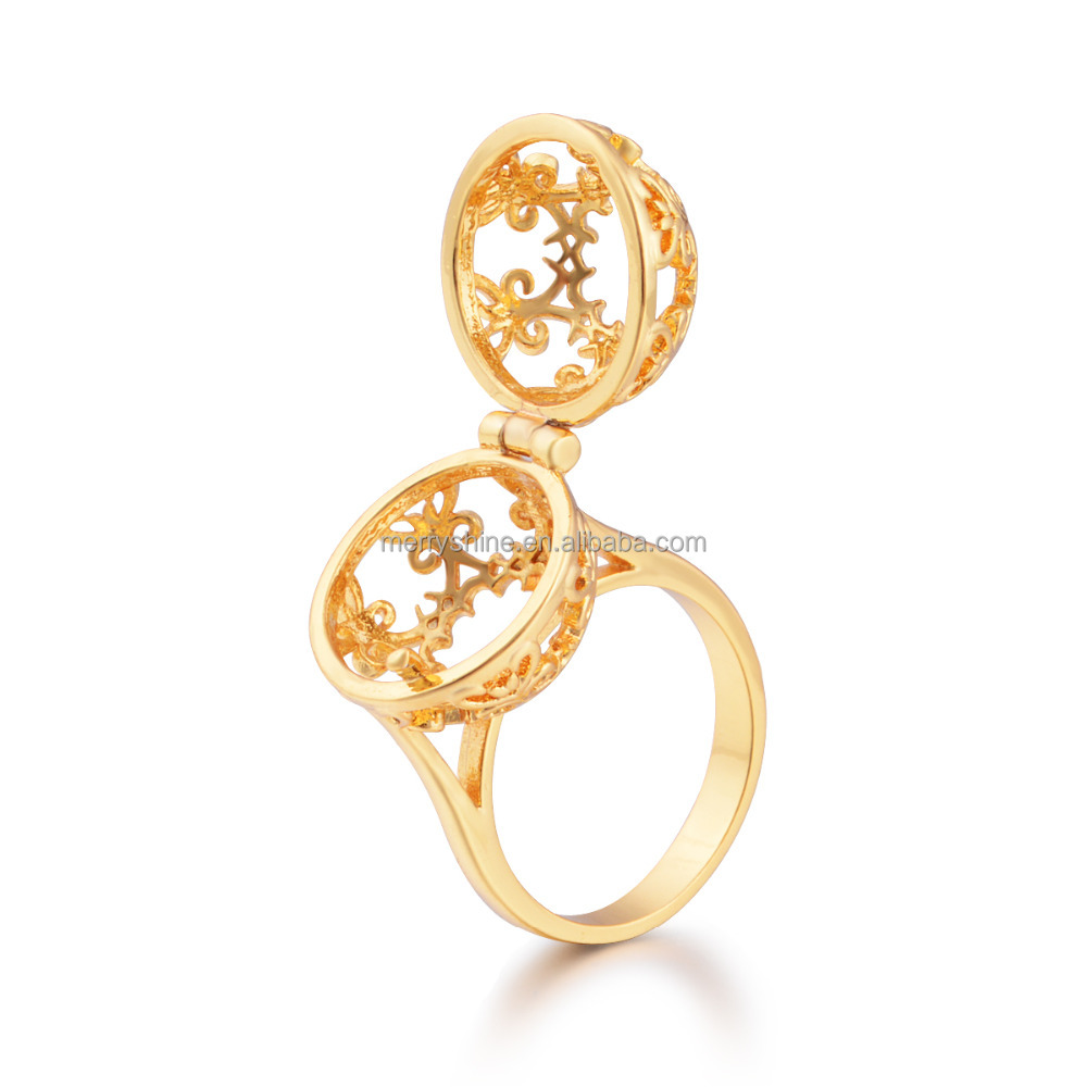 Europe Fashion Jewelry 18k Gold Plated Mexican Bola Cage Design Rings Harmony Bola Ball Ring HRI02
