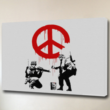 Banksy Art Peace White Red and Black Color custom canvas prints Framed for home decoration
