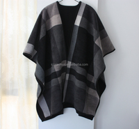Fashion new plaid acrylic poncho shawl