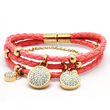 New Fashion Women Faux Leather Stainless Steel Loop Charm Bangles Bracelet Pink