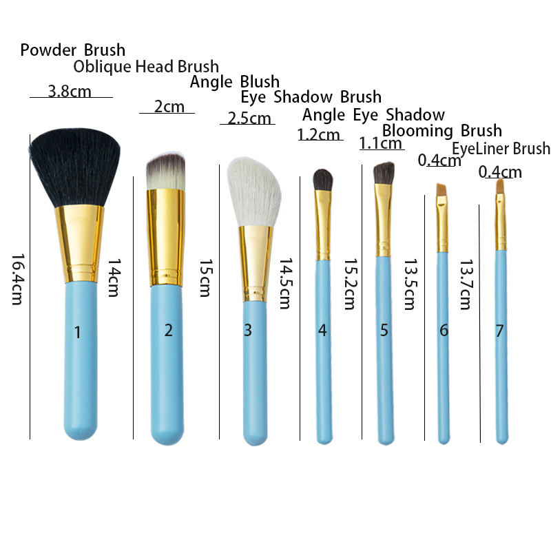 Wholesale 7pcs cosmetic tools customized logo makeup brushes with Cup holder
