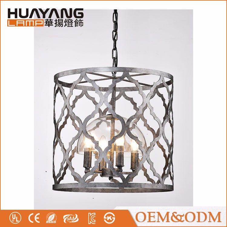 American country style loft cage modern industrial chandelier vintage iron pedant lamp