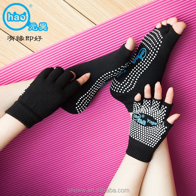 Non Slip Grip with Silicone Dots Toeless Yoga Socks and Gloves Set