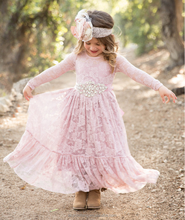 2017 Girl Lace Long Dress With Sweet Flower For Age Baby Kids Princess Wedding Prom Party Dress