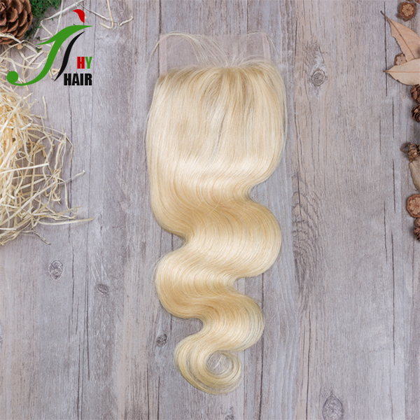 Brazilian Body Wave Three Part Silk Base Lace Frontal Closure Free Middle 3 Part 4X4 Blonde Hair Bundles With Lace Closure