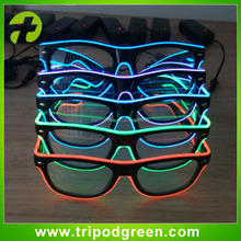 EL Wire Rave Glasses Light Flashing Neon Blue LED Black Frame for Party Decoration