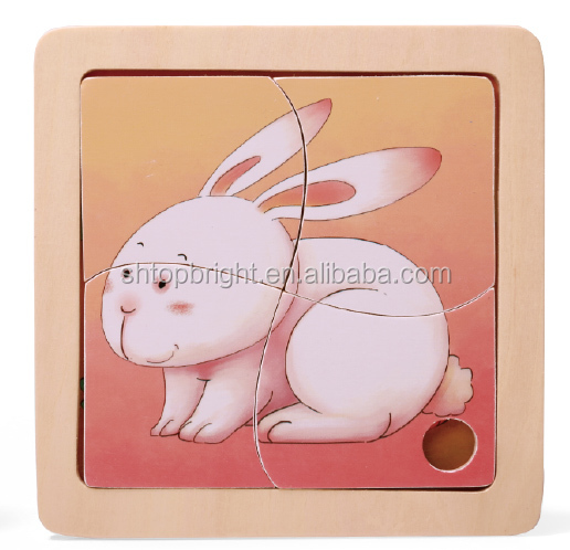 kids different knob animal wooden puzzle pink warm and sweet design educational toy time clock