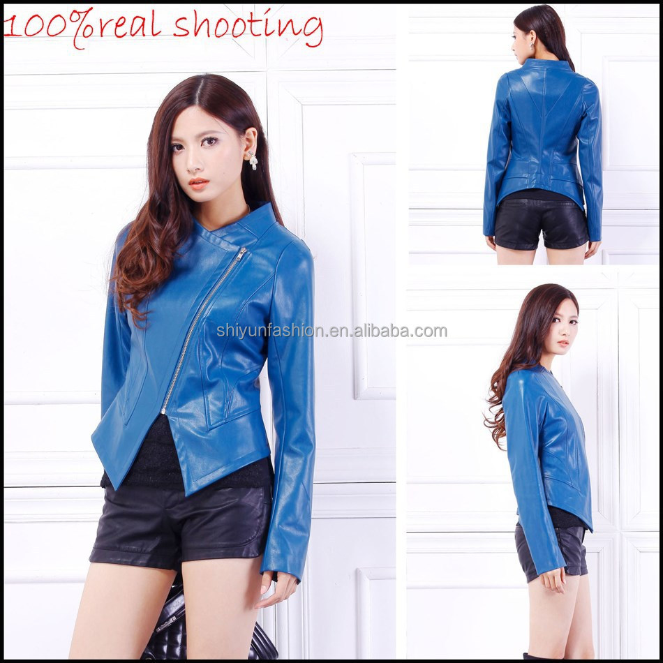 2015 New arrival ladies leather biker jacket with long sleeve none collar navy teal colour US XS-XL slim fit dancing clothing