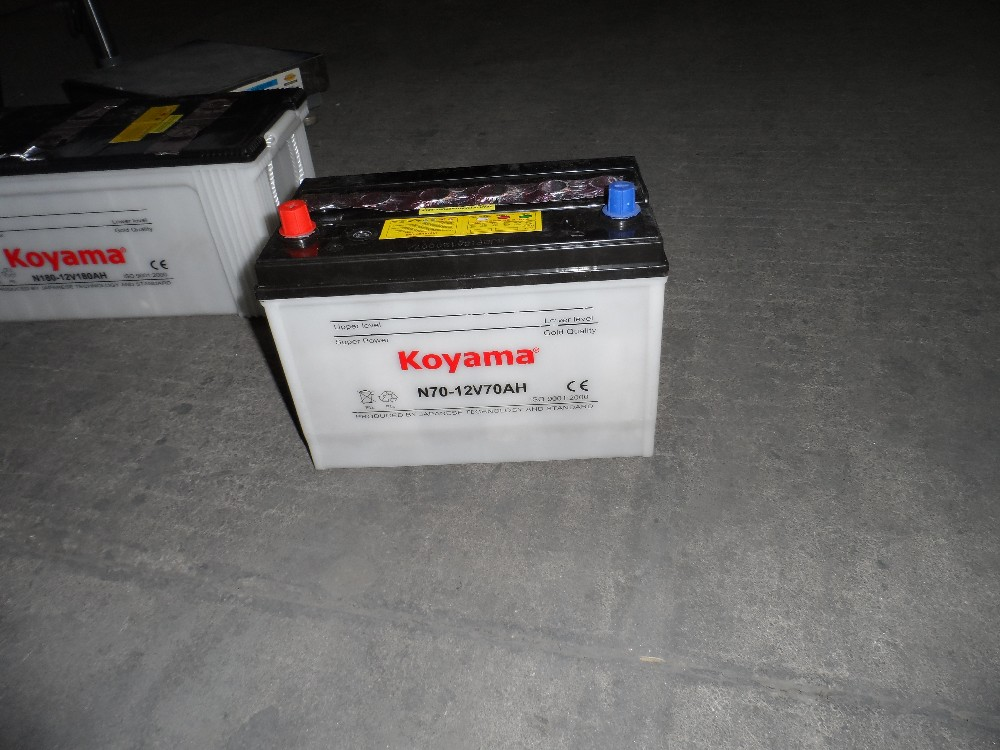 Koyama Quality Rechargeable 12V70AH N70 Lead Acid Dry Charged Car Battery with JIS Standard