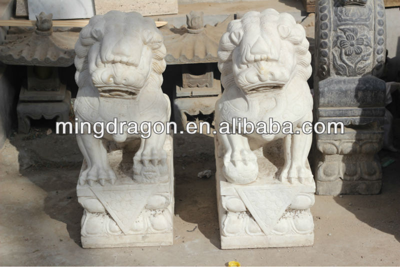 Chinese Antique White Marble Garden Stone Lion