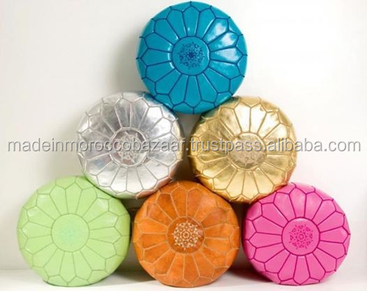 Home Furniture General Use and Fabric Material Moroccan Poufs
