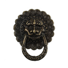 Antique Bronze Round Lion Face Pattern Carved Jewelry Wooden Box Pull Handle Dresser Drawer For Cabinet Door 23mm