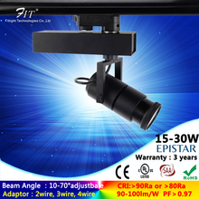 20W Zoomable Focusable LED Track Spot Light with COB LED Chips CRI>80Ra or >90Ra