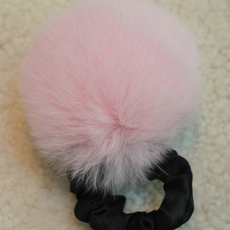 Genuine Rabbit Fur Pompom Elastic Hair Band Assorted Color Beautiful fur accessories girl