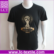 OEM factory wholesale black cotton reversible world cup brazil soccer t-shirt with your own brand gold stamping(LCTT0406)