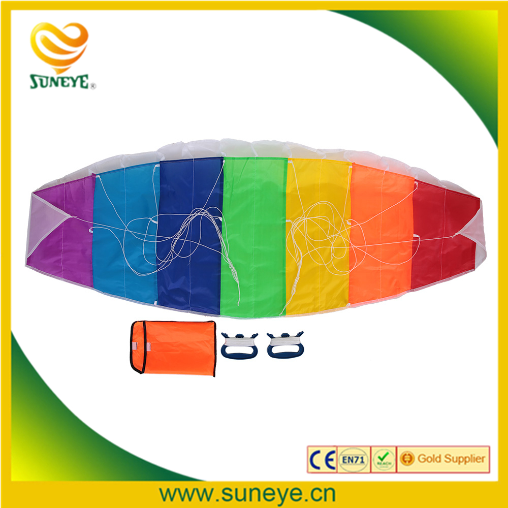 1.4/2/2.7m Double Line Kite Rainbow Stunt Kite Frameless Soft Kite Inflatable Parafoil Kite with Flying String