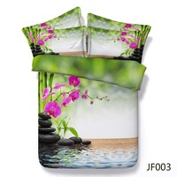 3D bedding Beautiful Spa style Purple orchid and bamboo 3d quilt cover set