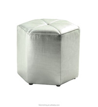 JR-01 Modern contemporary white color genuine leather crystal tufted leisure neoclassic stools ottoman chair