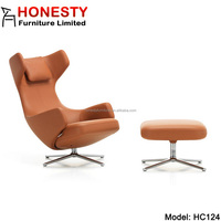 HC124 Cheap Replica Designer Classic Fiberglass Living Room Modern High Back Leather Swivel Grand Repos Lounge Chair Ottoman