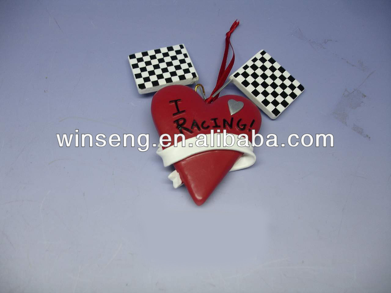 "4.75""RESIN ""I LOVE RACING"" ORN WS28-W6501"