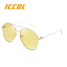 2017 Italian wholesalers women metal mirror stylish night vision yellow sunglasses