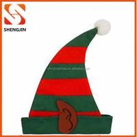 ADULT RED GREEN CHRISTMAS FANCY DRESS COSTUME OUTFIT FELT ELF HAT XMAS