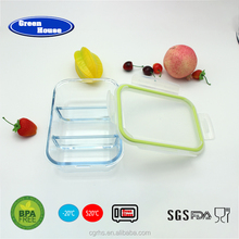 Take-out rectangular glass 3Partition room high borosilicate BPA Free safe glass food container with cutlery