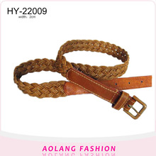 london fashion week brown faux leather and wax cord braided belt for women's dress