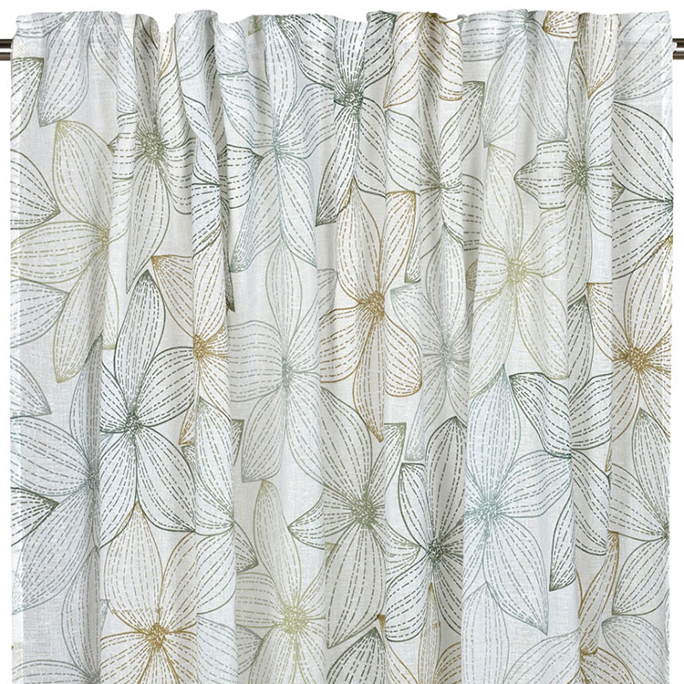 Country Style Polyester Cotton Flower Printed Blackout Curtain Drape